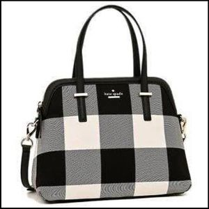 Black and white buffalo check Kate spade bag